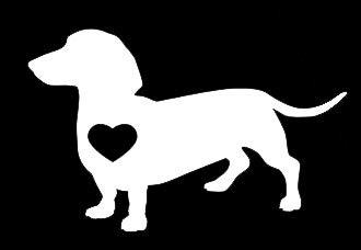 LLI1269 Vinyl-Aufkleber, Motiv: Dackel Love Dog, für Auto, LKW, Vans, Wände, Laptop, Weiß, 14 x 8,9 cm -