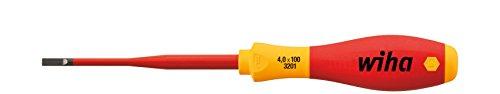 Wiha Schraubendreher SoftFinish® electric slimFix Schlitz (35390) 4,0 mm x 100 mm für tiefliegende Schrauben, ergonomischer Griff für kraftvolles Drehen, Allrounder für Elektriker, VDE-geprüft, stückgeprüft