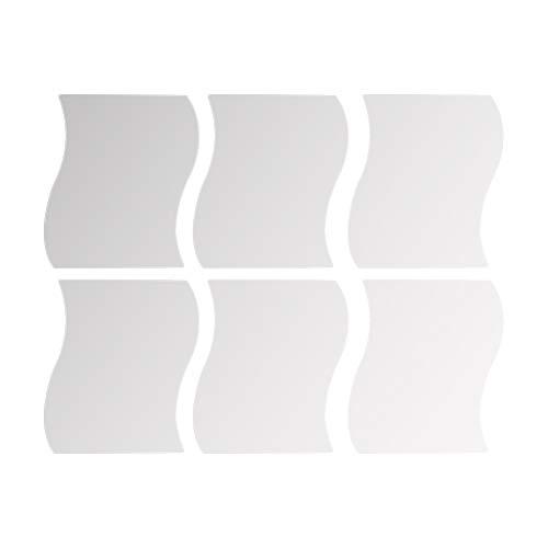 Dernish - 6 pegatinas de pared de espejo, 3D, espejo ondulado, decoración para el hogar, de plástico...