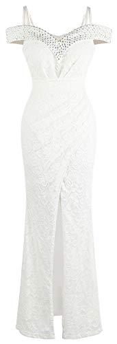 Angel-fashions Damen V-Ausschnitt Spitze Split Rüschen Perlenmantel Hochzeitskleid - Weiß - Klein -
