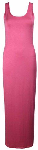Purple Hanger - Robe Longue Femme Uni Sans Manche Col Rond Été Extensible Maxi Pleine Longueur Neuf Corail
