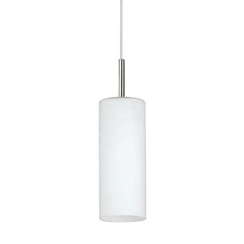 EGLO Pendellampe Troy 3, 1 flammige Pendelleuchte, Material: Stahl, Farbe: Nickel matt, Glas: satiniert weiß, Fassung: E27, Ø: 10,5 cm -
