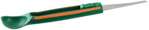 Fackelmann Kürbis-/Melonenmesser, Messer zum Schnitzen von Kürbis zu Halloween, Melonenschneider mit Messer aus Edelstahl (Farbe: Grün/Orange/Silber), Menge: 1 Stück