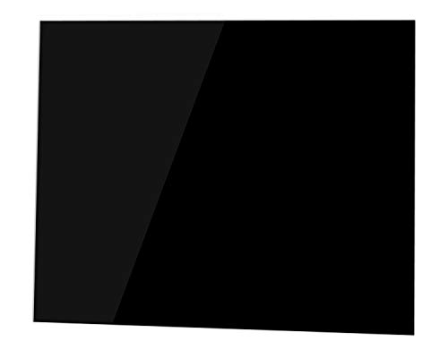 Pantalla antisalpicaduras de cristal / Panel de vidrio templado para cocina, 100 x 60 cm, Negro