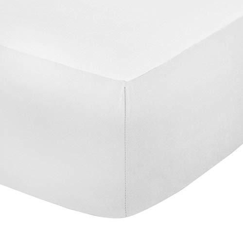 Linen Zone Spannbetttuch, Ägyptische Baumwolle, Fadendichte 200,30cmtief, weiß, Super King - Ägyptische Baumwolle Bett