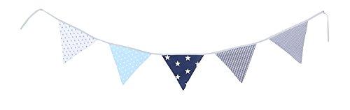 ette Blau Hellblau Grau (Stoff-Girlande: 1,9 m, 5 Wimpel, Dekoration für Kinderzimmer & Baby Geburtstage, Motiv: Sterne) (Dekoration Für Baby-jungen)
