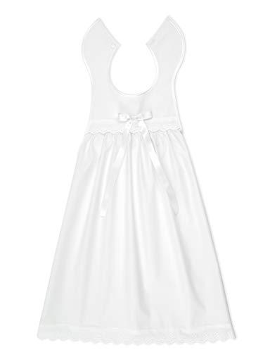 Taufaufleger aus weißer Baumwolle mit Spitze + Schleife in weiß, Unisex, festliche Taufbekleidung für Mädchen und Jungen geeignet - V1