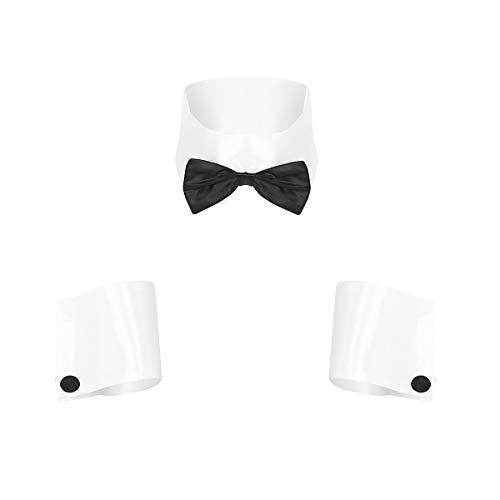 Agoky Herren Edle Fliege Schleife mit Kragen Hemd Manschetten Armbänder Gag Geschenke Erotik Cosplay Kostüm Reizwäsche Weiß One Size