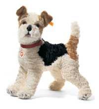 Steiff 35cm Foxy Fox Terrier with Genuine Leather Collar Standing (White/ Brown/ Black)