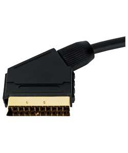 Scart Gold Video Kabel (0,5 m Scart-Kabel - Premium-Qualität / 24k gold / komplett verdrahtet / geschirmt / 21-pin / Audio / Video / Stecker-Stecker)