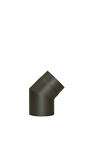 LANZZAS Rauchrohr Ofenrohr Kaminrohr Bogen Knie 45° ohne Tür starr Ø 200 mm grau