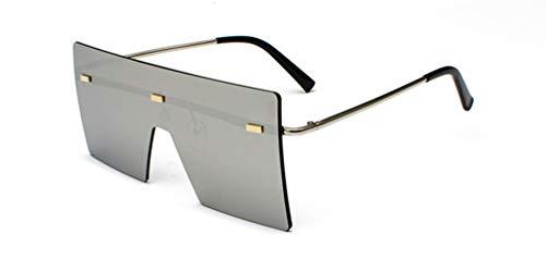 HUWAIYUNDONG Sonnenbrillen, Fashion Square Sunglasses Men Women Vintage Oversized Rimless Mirror Design Eyewear Shades Silver W Silver