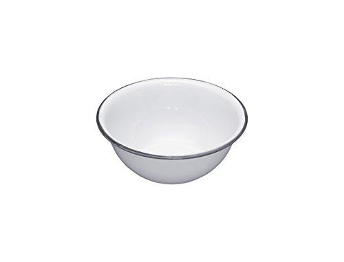 KitchenCraft Living Nostalgia rund Emaille Schale, 15,5cm (15,2cm)–Weiß/Grau