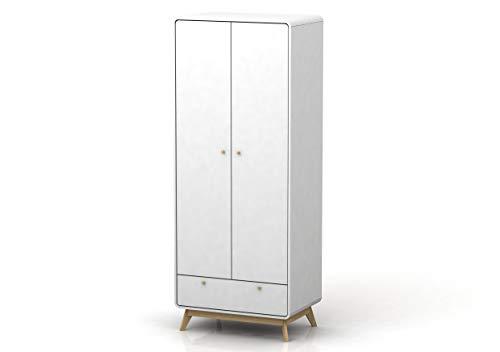 Loft24 Kleiderschrank weiß Dielenschrank Garderobenschrank Skandinavisches Design Modern Spanplatte foliert Kratzfest, 1 Schublade, 2 Türen, 1 Kleiderstange