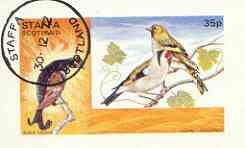 Grouse Bird (Staffa 1972 Pictorial imperf souvenir sheet (35p value) Birds (Grouse, Siskin & Goldfinch) cto used BIRDS GROUSE SISKIN GOLDFINCH JandRStamps)