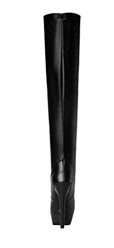 YE Damen Elegant High Heels Plateau Overknee Stiefel Kniehoch Boots mit 13 Absatz Winter Party Schuhe Schwarz