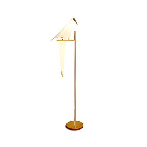 Yyqx Standleuchte Art Deco Vogel Papier Stehlampe Schlafzimmer Wohnzimmer Lampe Ständer Origami Licht Studie Nachttisch Lesetisch Gold Stehlampe Stehleuchte (Color : Single)