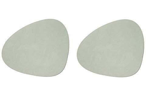 Lind DNA Tischset Platzset Curve 983572 Leder | Nupo Olive Green L 37x44 cm grün | LindDNA 2 Stück im Dekomiro Set mit 50 ml Reinigungsmittel Olive Green Teller
