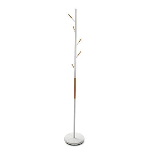 Versa 18790650 Perchero de pie Blanco, Metal y madera, 173x28x28 cm,5 colgadores