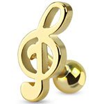 Gold Plated Treble Clef Music Note Cartilage Tragus Upper Ear Earring Bar Ring