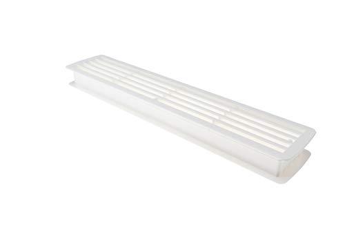 Lüftungsgitter Tür-Gitter weiß Abluftgitter Kunststoff ABS | Belüftungsgitter eckig | 457 x 92 mm | Türlüftung für Türdicke 35 - 40 mm | MADE IN GERMANY | 1 Stück - Türlüftungsgitter mit Schrauben