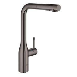 Grohe Essence New – grifo monomando fregadero L-caño ducha dual – Hard Graphite