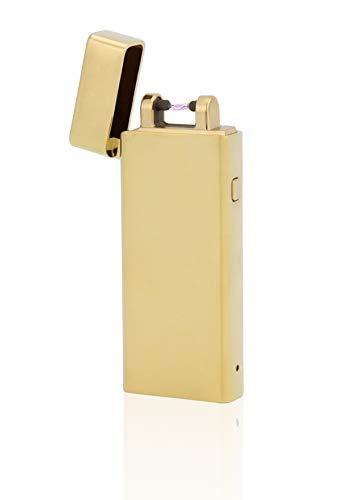 TESLA Lighter T04 Slimline Lichtbogen Feuerzeug, Plasma Single-Arc, elektronisch wiederaufladbar, aufladbar mit Strom per USB, ohne Gas und Benzin, mit Ladekabel, in Edler Geschenkverpackung, Gold