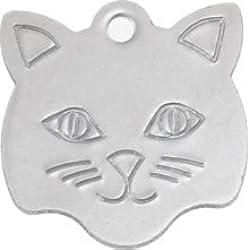 Personnalisé Médaille pour Chat en Acier Inoxydable en Forme de Tête de Chat (Petit) | Service DE Gravure | Médaille pour Animal Domestique Personnalisée avec Gravure Laser