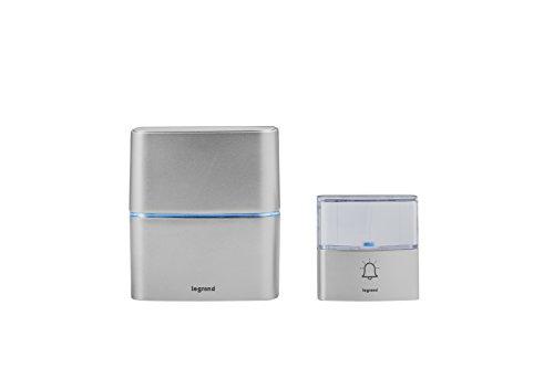Legrand, Funkklingel-Set Premium batteriebetrieben mit MP3-Funktion, 1x wasserdichtem Klingeltaster (IP54), 1x Gong mit 30 Melodien, 100m Reichweite \n\n\n, 094271