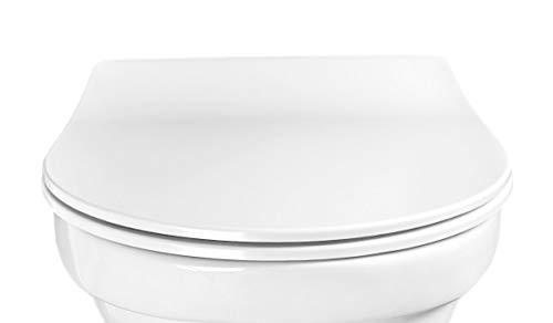 Aquashine Premium WC-Sitz Slim-Line D-Form Toilettensitz Einhand Take off zur Schnellreinigung Edelstahl Scharniere mit 10 Jahren Garantie Belastbar bis 200 kg
