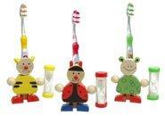 Zahnbürstenhalter + Sanduhr Neu Lustiger Frosch Holz Uhr Kinder Zahn Bürste