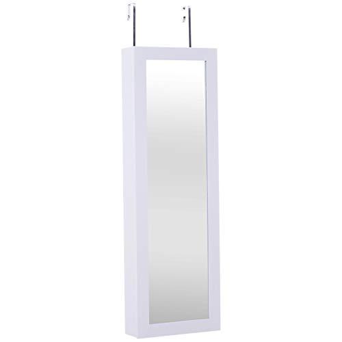 Homcom armadio portagioie da parete o porta con specchio in legno bianco mdf, 36x108.5x11.5cm
