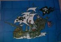 Flagge 90 x 135 : Piratenschiff in blau