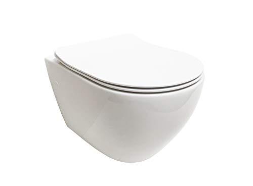 ADOB, spülrandlose wandhängende WC Keramik Toilette mit passendem WC Sitz mit Absenkautomatik, 28023