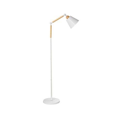 CLOTHES UK- E27 Creative En Bois Moderne LED Lampe Fer 180 ° Rotation Lampe Tête Réglable Lecture Lampadaire 160x28 cm Lampadaire