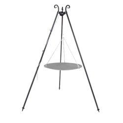 Dreibein Grill Höhe 180cm, incl. Kette und Grillpfanne aus Stahl 46cm