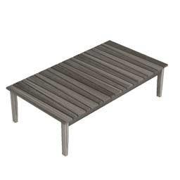 dafnedesign. com – Table basse rectangulaire de jardin york, en teck cérusé – dimensionicm 137 x 37 H77