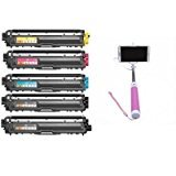 Tinte breizpack 5kompatible Toner (2Black, 1Cyan, 1Magenta, 1Yellow) ersetzt CF350A CF351A CF352A CF353A 130A Laser für HP Color Laserjet Pro MFP M176N M177fw + Handstativ Selfie