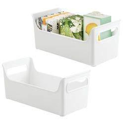 Mdesign set da 2 spaziosi contenitori per cosmetici con pratica impugnatura – cestino portaoggetti multiuso per prodotti di igiene e cura personale – set arredo bagno porta trucco in plastica – bianco