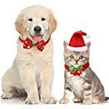 Boao 4 Stück Weihnachten Haustier Hut Schal Kragen Fliege für Kleine Hunde Katzen Haustier
