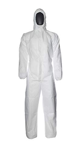 DuPont ProShield 20 Protective Suit with Hood, Category III, Type 5 and 6, White, Size S