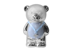 Christening Gift Silver Plated Blue Enamelled Teddy
