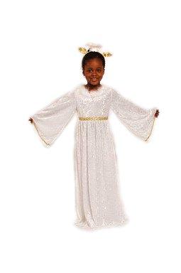Engelskostüm weiß-gold für Mädchen | Größe 98 | 1-teiliges Engelchen Kostüm für Karneval | Schutzengel Faschingskostüm für Kinder