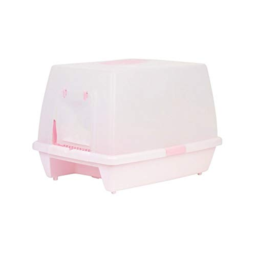 Cat Toilet Contenitore per lettiere Completamente recintato Grande Spazio Vasino Singolo per Gatti Vasino WC per Animali Domestici Toilette per Gatti (Color : Pink)