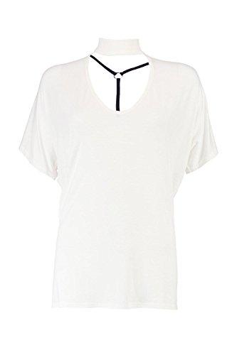 blanc Femmes Lucy T-shirt Surdimensionné Col Ras Du Cou À Bretelles Blanc