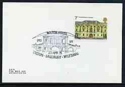 Postmark - Great Britain 1975 card illustr cancel for Wilton House Open Day, Salisbury CASTLES BUILDINGS JandRStamps Wilton House
