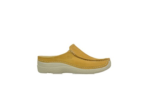 Wolky Comfort Sabots Seamy Slide 192 ocher (yellow) nubuck