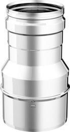 Articolo fumisteria Linea 'Legna' e 'pellet':riduttore maggioratore F/M, spessore 0,5 mm acciaio inox, diametro 80 mm femmina e diametro 120 maschio