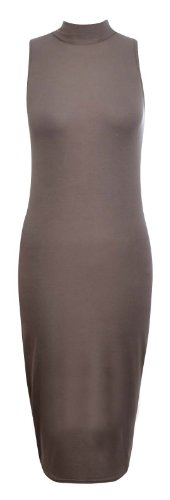 Uni col roulé femme Robe Midi Bodycon Stretch Marron - Moka