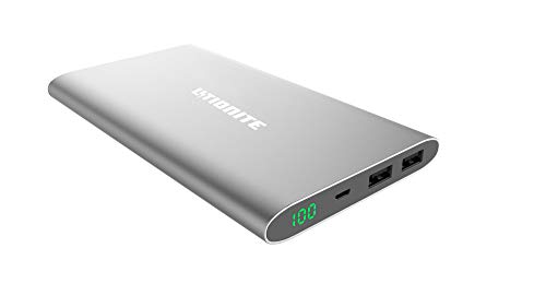 Litionite Plasma Mini 12000mAh Power Bank en Aluminium Ultra Mince - 2X USB (2.4A) - Chargeur avec Display LED Touch Screen - Batterie Externe Portable pour Smartphone/Tablet/Caméra/Drone (Grey)